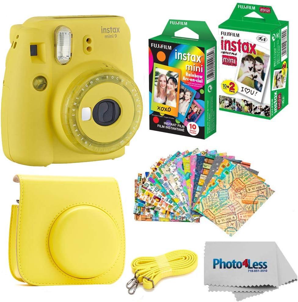 Fujifilm Instax Mini 9 Instant Film Camera - Fujifilm Instax Mini Instant Film, Twin Pack - Fujifilm Instax Mini Rainbow Film - Case for Fuji Mini Camera – Fuji Instax Accessory Bundle (Yellow)