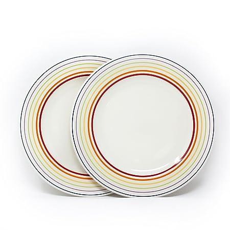 Bugatti Gioia - Side Plates - Set of 2 Vibrant Striped Coloured Earthenware Side Plates -  sc 1 st  Amazon UK & Bugatti Gioia - Side Plates - Set of 2 Vibrant Striped Coloured ...