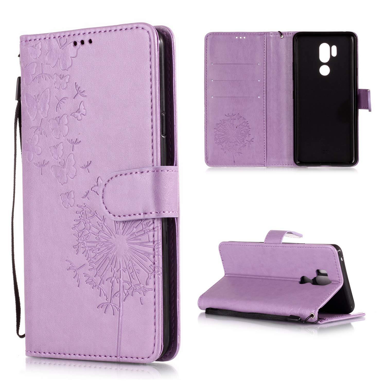 Shinyzone Protective Phone Case for LG G7,LG G7 ThinQ Case Embossed Butterfly Dandelion Pattern Series,Magnetic Stand Cover with Card Slots Leather Wallet Flip Case-Purple by Shinyzone (Image #1)