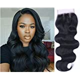 Mike & Mary Three Part Lace Closure Body Wave Virgin Brazilian Hair 100% Virgin Human Hair Closure Hand Tied Brazilian Hair Closure