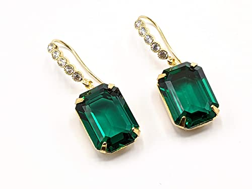 Bridal Sets Cubic Green Silver Wedding Gift Glass Emerald Set of 5-10 Pairs Bridesmaid Earrings Jewelry Hooks