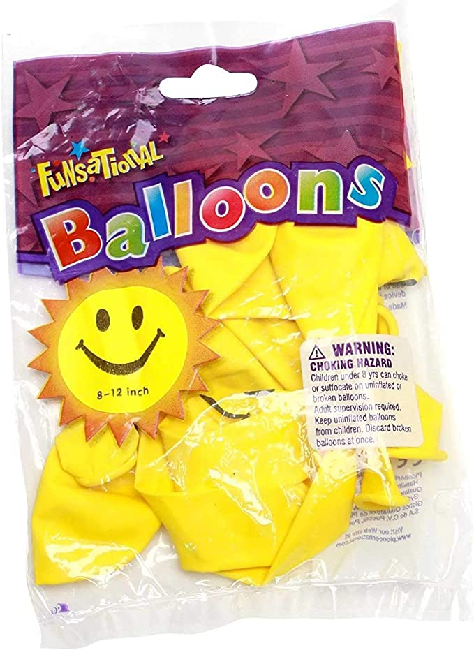 """10 Smiley Face 90s Parties Decoration balloons 12/""""inch Helium Quality For Easter"""