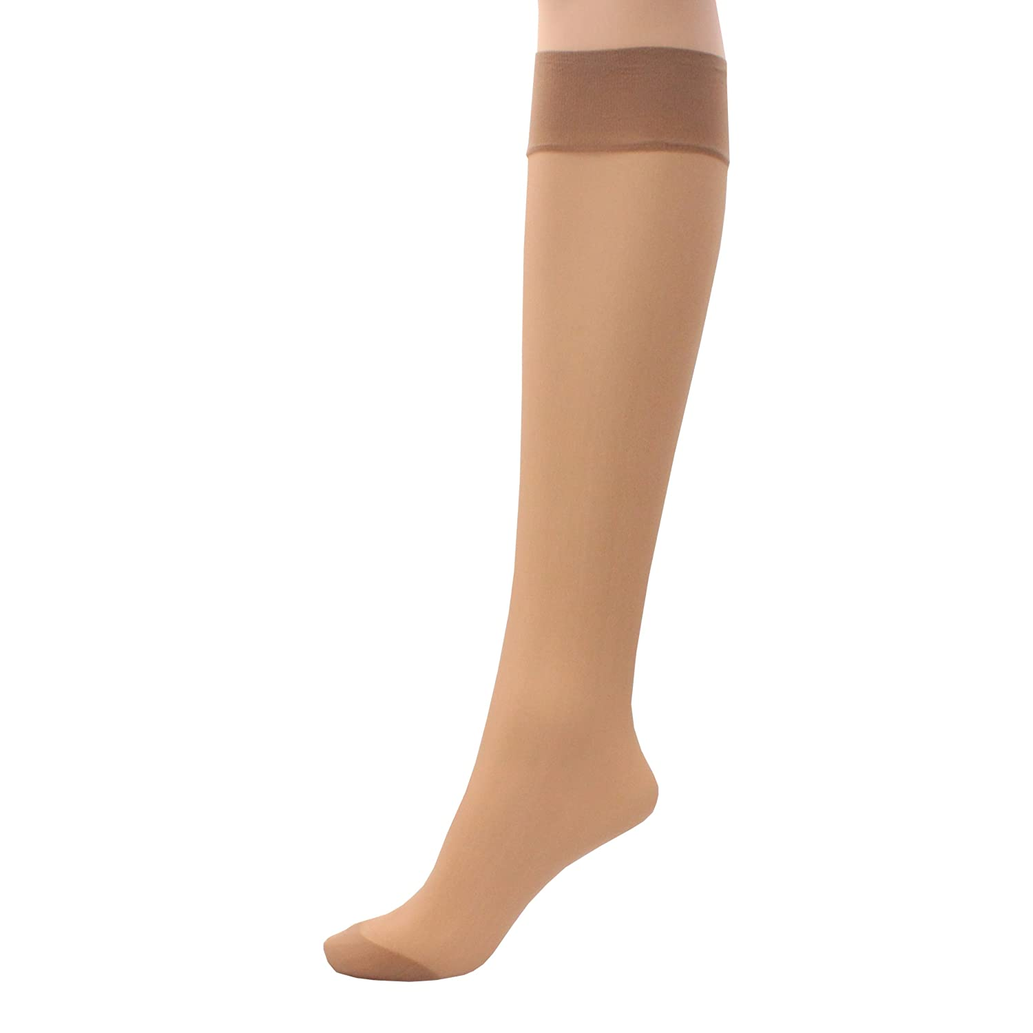 6 x Ladies / Women 100% Nylon Knee High Pop Socks with Comfort Top Britwear
