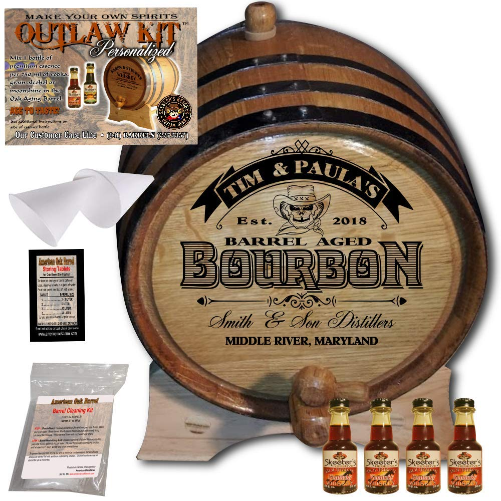 Personalized Whiskey Making Kit (102) - Create Your Own Kentucky Bourbon Whiskey - The Outlaw Kit from Skeeter's Reserve Outlaw Gear - MADE BY American Oak Barrel - (Oak, Black Hoops, 3 Liter)