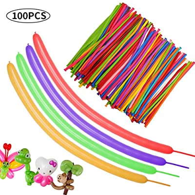 TONIFUL Long Balloons Latex Twisting Magic Balloons 100pcs for Balloon Animal Birthday Party Carnival Wedding Decorations Assorted Color: Kitchen & Dining