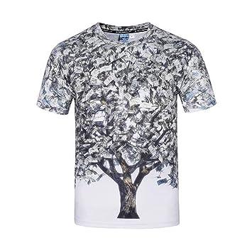 Ydxwan Camiseta Impresa 3D de Manga Corta para Hombre Personalizada Cuello Redondo Creativa Money Tree Estampada Camisetas Moda Juvenil Linda Tapa Grande ...