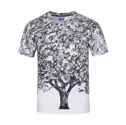 00f6fb6d8 Camiseta impresa 3D de manga corta para hombre personalizada cuello redondo  Creativa Money Tree estampada camisetas