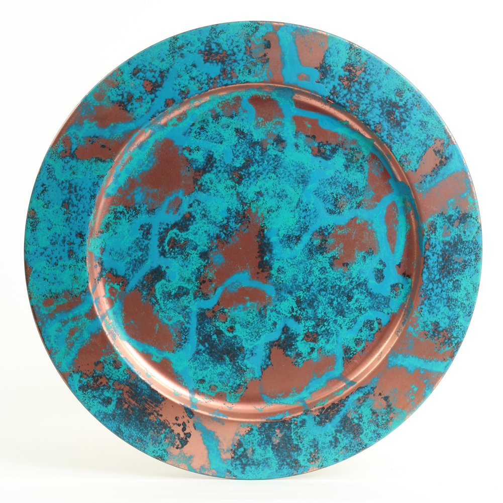 Koyal Wholesale Copper Patina Metal Charger Plates, Patina Table Decor, Real Copper Verdigris Finish Antique Plates, Set of 4