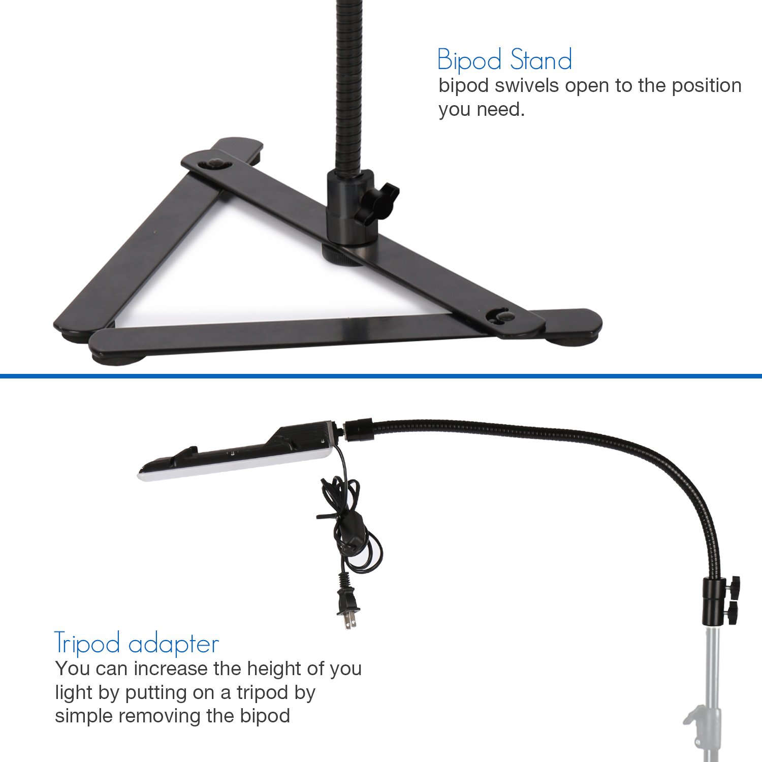 LS Photography LED Light Panel with Gooseneck Extension Adapter and Acrylic Black & White Reflective Display Table Riser, Table Top Photo Video Lighting Kit, LGG765 by LS Photography (Image #2)