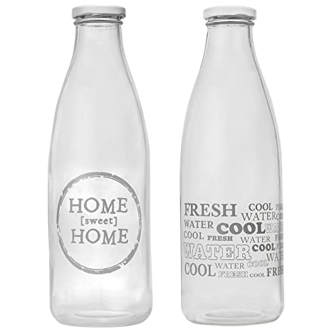 CostMad 2 x 1 L litro Retro de cristal botellas de agua vaso de leche lácteos