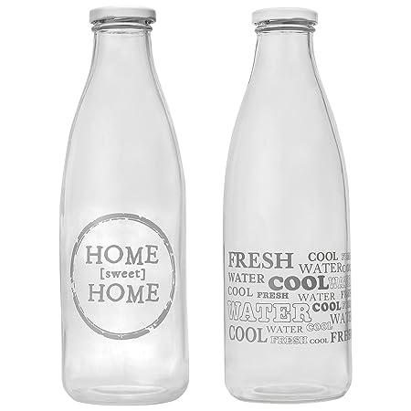 CostMad 2 x 1 L litro Retro de cristal botellas de agua vaso de ...
