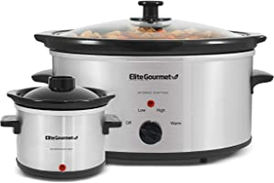 Elite Gourmet Glas Slow Cooker with Adjustable Temp, Entrees, Sauces, Stews & Dips, Dishwasher Safe Glass Lid & Crock, 5 Quarts, Stainless Steel,MST-500D