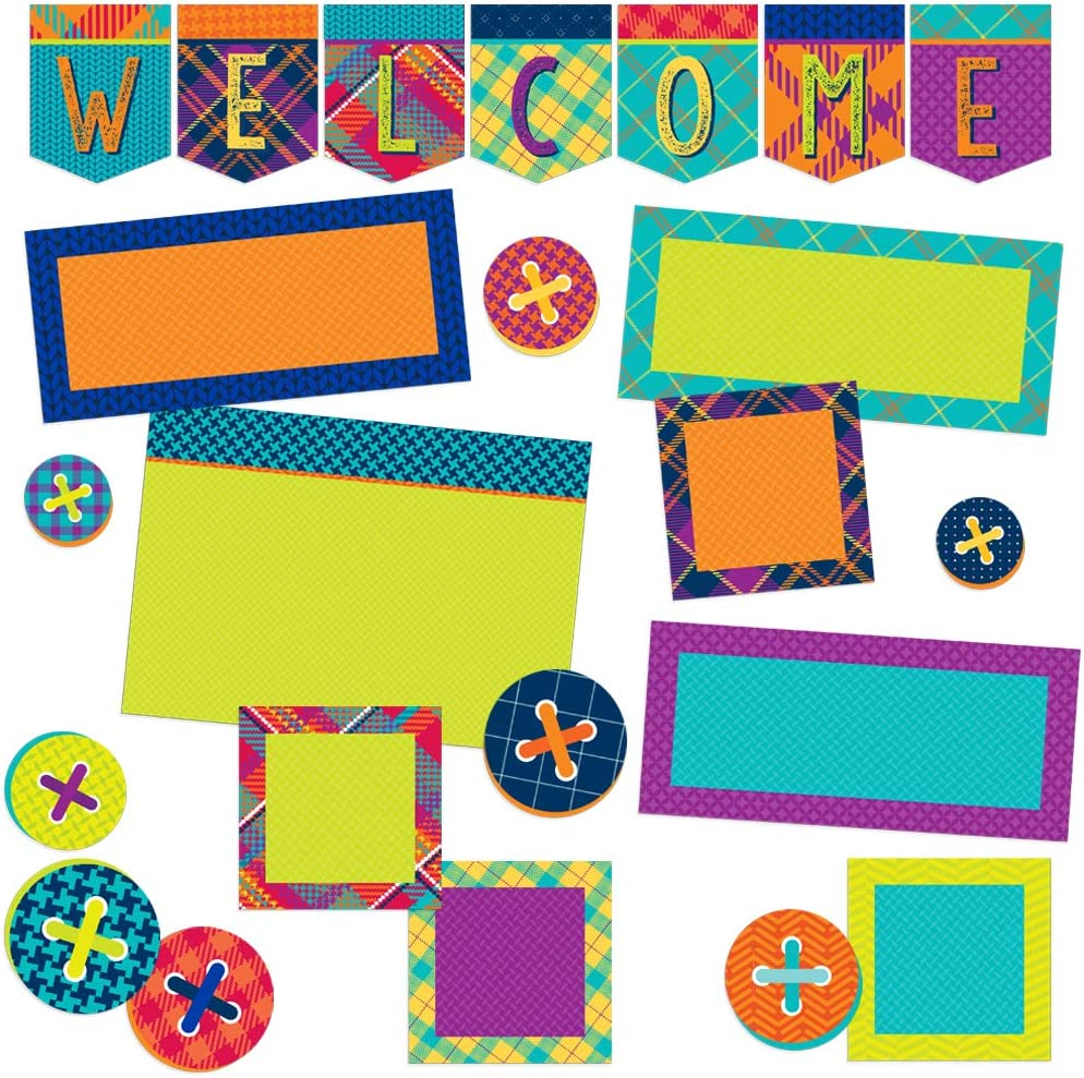 Eureka Multicolor Plaid ''Welcome'' Back to School Bulletin Board Classroom Decoration Set, 23pcs