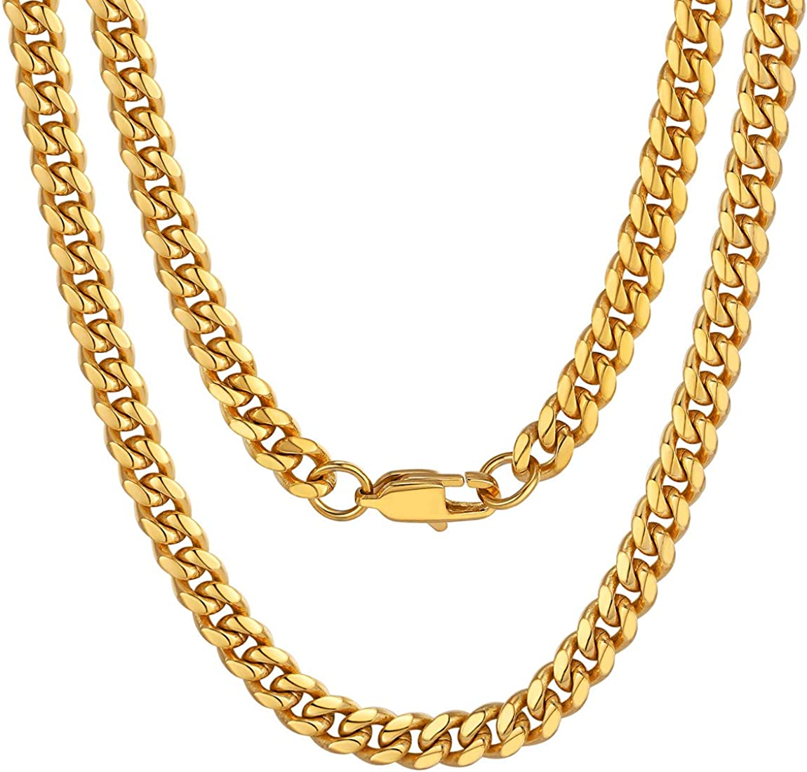 ChainsPro Men Chunky Miami Cuban Chain Necklace, Custom Available, 6/9/14mm Width, 18/20/22/24/26/28/30inch Length, Gold/Steel/Black (with Gift Box)…