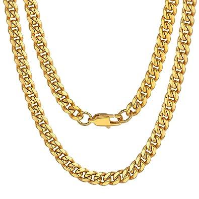 ChainsPro Curb Cuban Chain, Cadena Cubana Miami, Collar De Acero Inoxidable, Joyería para Hombre y Mujer, Estilo Hip Hop, 6 MM Ancho 46-76CM Largo