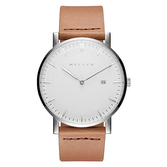 Meller Unisex dag camello minimalista reloj con blanco esfera analógica y correa de piel: Amazon.es: Relojes