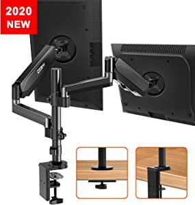 Dual Monitor Mount Stand, Gas Spring Arm Height Adjustable Monitor Desk Mount, VESA Bracket for 17 to 32 Inch Computer Screen- Holds up to 17.6lbs with Clamp, Grommet Mounting Base, VESA 75 100