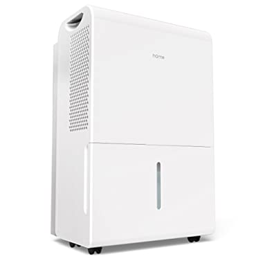 hOmeLabs 2500 Sq Ft Dehumidifier 50 Pint Energy Star Safe Mid Size Portable Dehumidifiers Basements & Large Rooms Fan Wheels Drain Hose Outlet to Remove Odor & Allergens