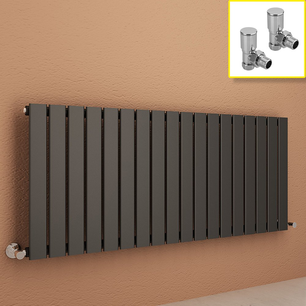 ELEGANT 600 x 600 mm Anthracite Column Radiator Horizontal Double Flat Panel Designer Radiator with Angled Radiator Valves