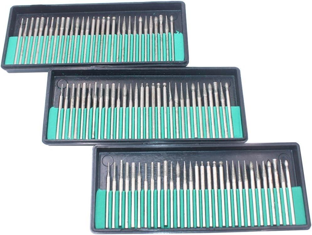 Gasea 30pcs 1//8 Shank Diamond Coated Burr Drill Bits for Engraving Carving Dremel Rotary Tool