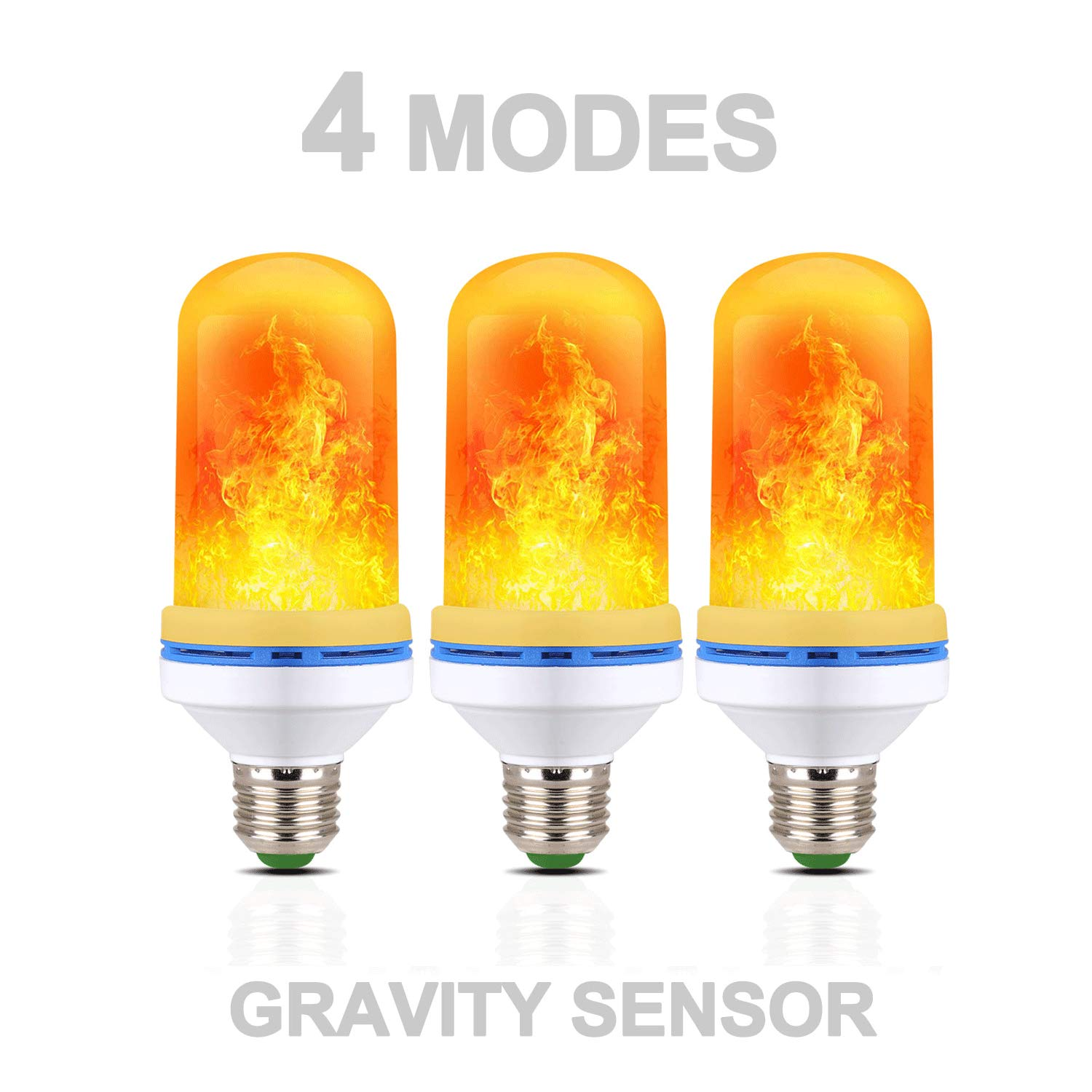 Breathing Decorative Light for Home Hotel Bar Wedding Party Decoration 3 Pack Constant Light Gravity Sensor Fire Flickering E26 Bulbs 4 Modes Emulation LED Fire Flame Flicker Effect Light Bulb