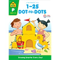 SCHOOL ZONE - 1-25 Dot-to-Dots Workbook, Ages 3 to 5, Get Ready!™, Numbers, Numerical Order, Counting, Fine Motor Skills, Sequencing, Following Directions, and More!