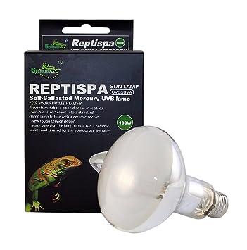 Reptispa UV Sun Lamp 100 Watts   UVB U0026 UVA Self Ballasted Mercury Vapor Lamp