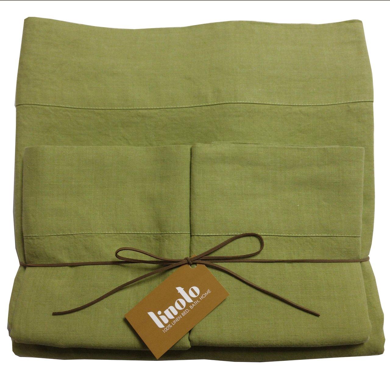 King Linoto Luxurious 100/% Pure Linen Bed Sheet Set Natural 4 Piece Indigo