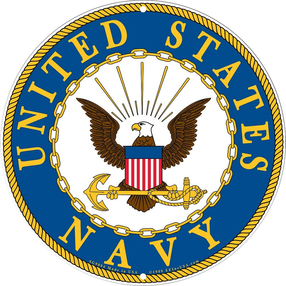 Amazon.com: Navy Military Logo Aluminum Sign - US Service Branch Metal Home  Wall Decor: Home & Kitchen