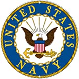 Navy Military Logo Aluminum Sign - US Service Branch Metal Home Wall Decor