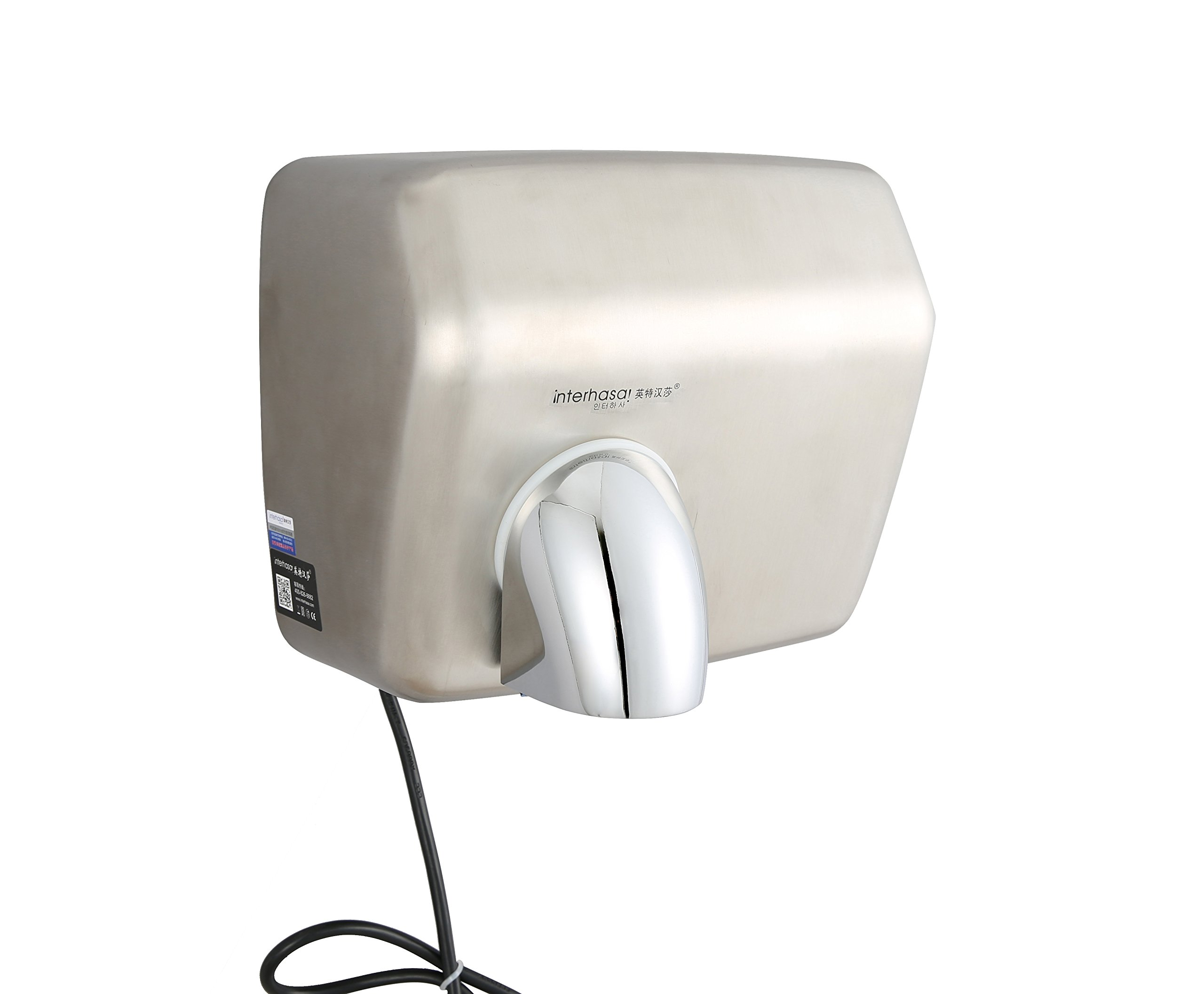 Interhasa! 304 Stainless Steel 2300W High-Speed 150m/s Automatic Commercial Hand Dryer