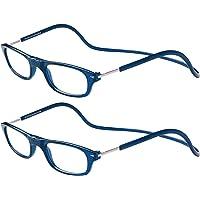TBOC Pack: Occhiali da Vista Lettura Presbiopia - (Due Unità) Graduati +2.00 Diottrie Montatura Blu Regolabili Pieghevoli Chiusura Clip Magnetici Vicino Donna Uomo Appendere Collo
