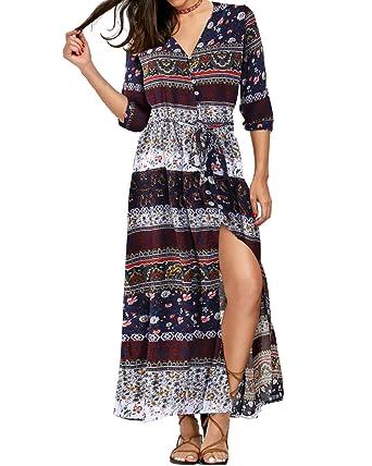 7c536525391 Kidsform Women Maxi Dress 3 4 Sleeve Floral Print Button Up Split Boho  Flowy Party Long Dresses at Amazon Women s Clothing store