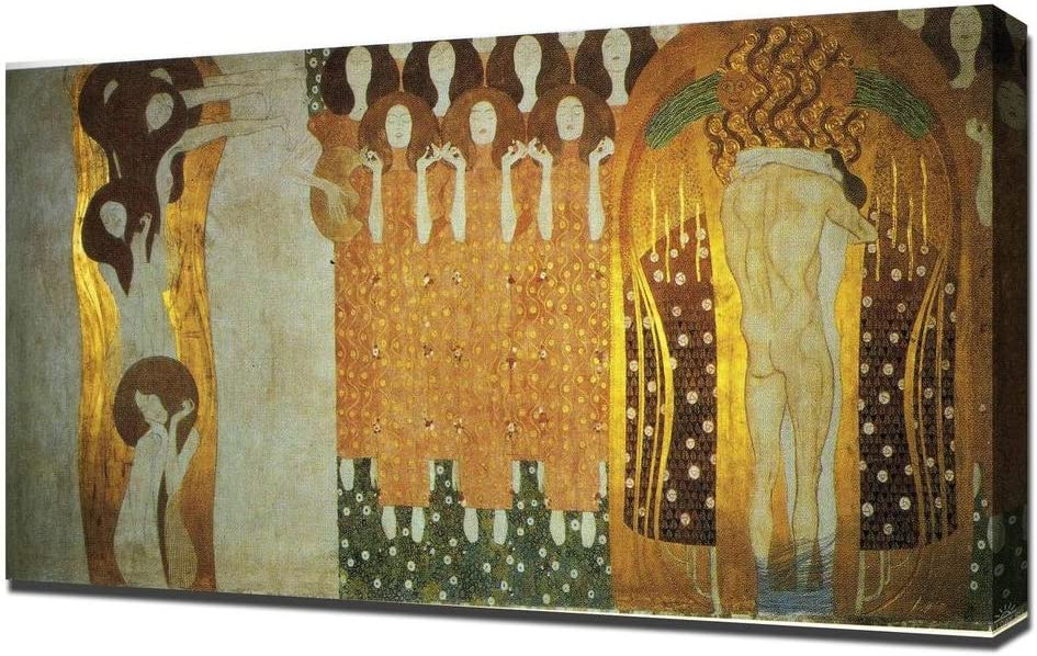 Amazon Com Lilarama Usa Gustav Klimt The Beethoven Frieze The Longing For Happiness Finds Repose In Poetry Right Wall 1 Framed Canvas Art Print Reproduction Posters Prints