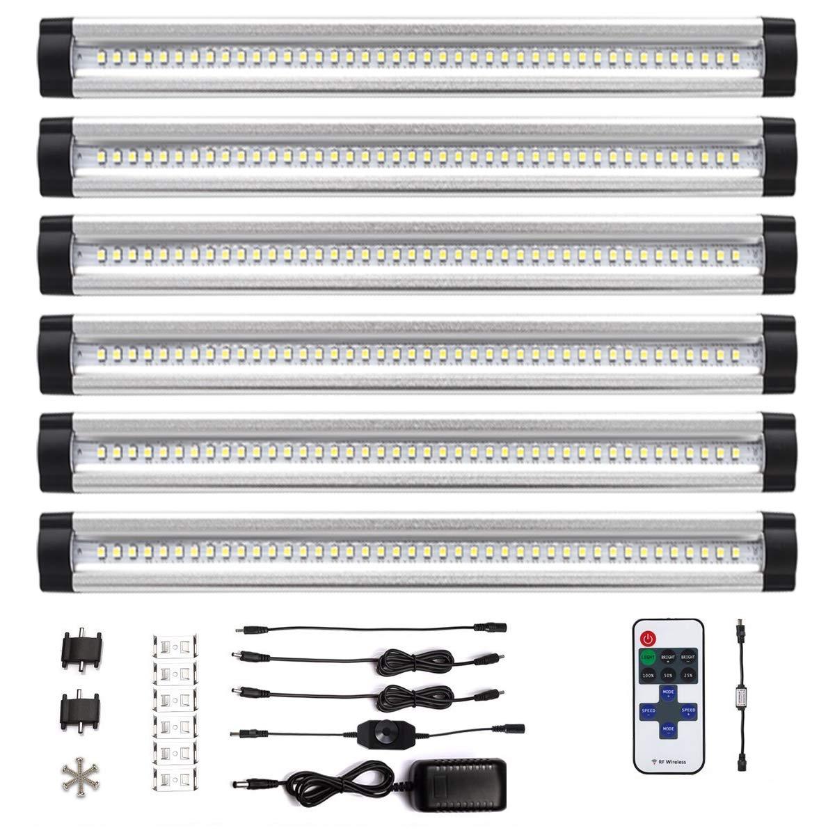 TYGREEN LED Unterbauleuchte Schrankleuchte LED Schrankbeleuchtung mit Stecker, Dimmbar unter unter unter Theke Licht für Küchenarbeitsplatte, Schrank, Regalbeleuchtung, 18W 1100 Lumen, 3500K, 6 Stück a200d7