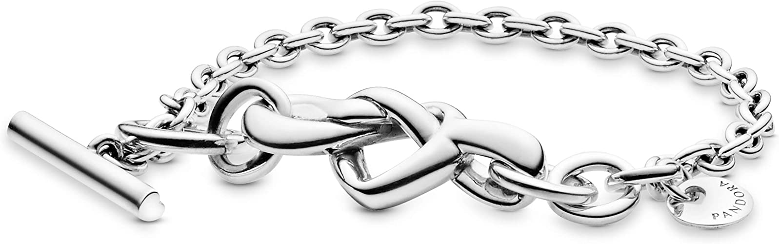 Pandora Jewelry Knotted Heart T-Bar Sterling Silver Bracelet, Size 7.1