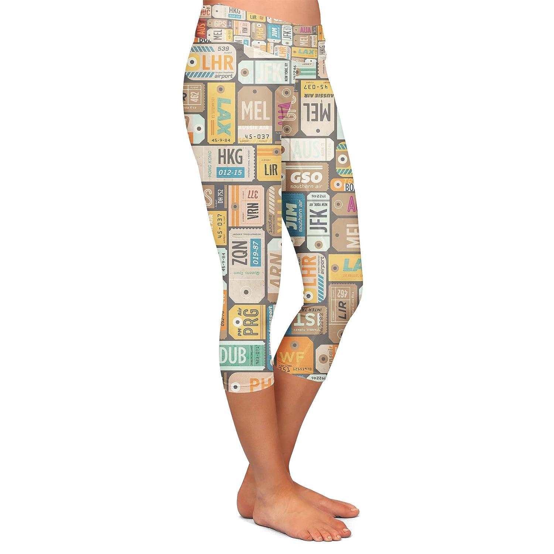 Luggage Tags Retro Yoga Leggings Capri 3//4 Length Low Waist