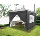 Greenbay 3x3M Anthracite Pop-up Gazebo with 4 Sidewalls and 2 free WindBars, 4 Leg Weight Bags, Carrying Bag