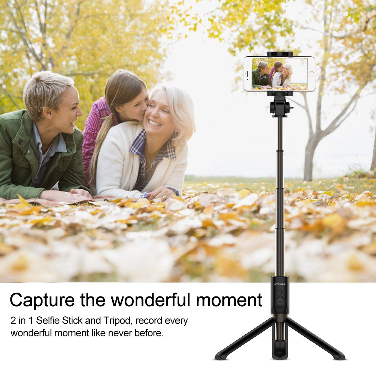 Tripode Bluetooth para Selfie, RIVERSONG Selfie Stick con Tripodes Control a Distancia Autofoto Palillo Extensible para Smartphone iPhone 6 / 6S Huawei P9 ...