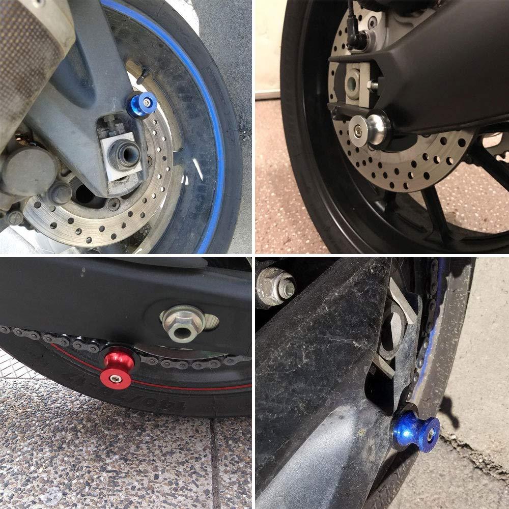 2pcs M6 Motorcycle CNC Swing arm Sliders Spools Stand Screw for Yamaha FZ01 FZ03 FZ09 FZ10 YZF R1 R3 R6 R25 R125 R1000 R6S FZ1 FZ6 FZ8 FZS1000 FZS600 Aprilia RSV4 R Tuono V4 Dorsoduro (Blue) by LQMY (Image #3)