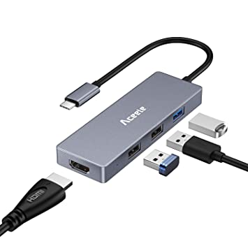 Aceele Hub USB C, Tipo C Adaptador con 4K HDMI, Aluminio 2 Puertos USB 2.0 con USB 3.0 concentrador para MacBook Pro, DELL XPS 2017, Chromebook Pixel, ...