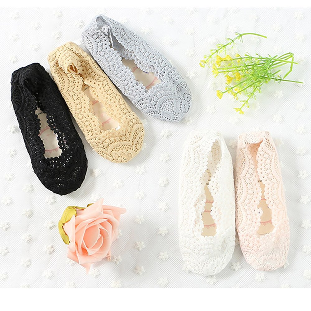 Girls Lace No Show Socks 10 Pairs Non-slip Silicone Grips Low Cut Boat Liner Loafer Footies Sock For Girls 2-10 Year Old
