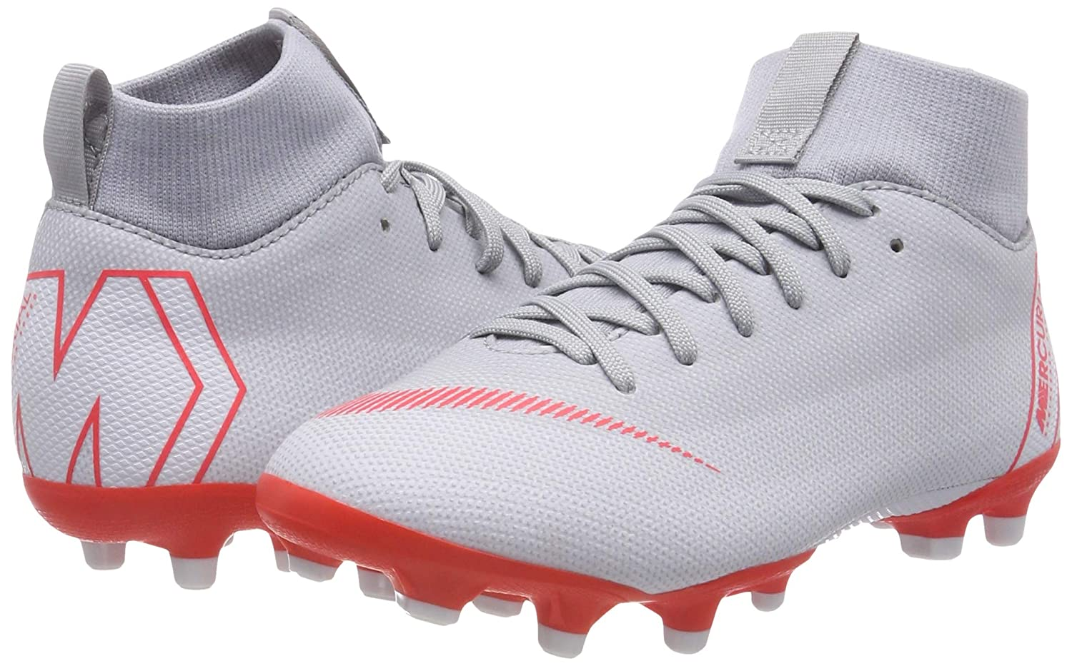 Grey//Red Nike Superfly 6 Academy Kids Firm Ground Soccer Cleats 4 Big Kid M