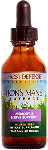Host Defense, Lion s Mane Extract, Promotes Mental Clarity, Focus and Memory, Daily Mushroom Supplement, Vegan, Organic, 2 fl oz 60 Servings