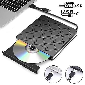Grabadora CD/DVD Externa USB 3.0 y Tipo C, MOSUO Lector de CD/DVD /-RW/ROM Reproductor Externo Portátil Unidad Quemador para Win ...