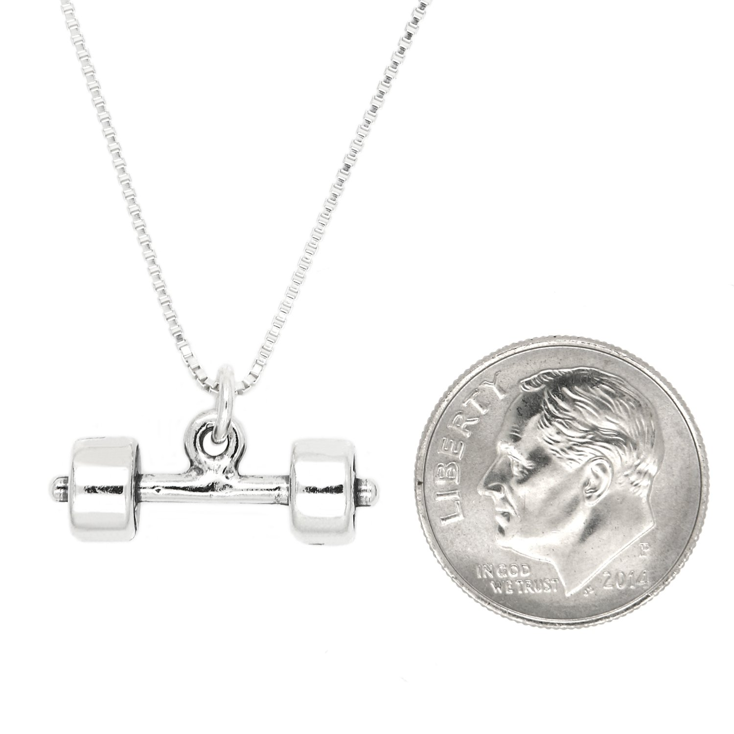 Sterling Silver Oxidized 3D Barbell Dumbbell Weight with Polished Box Chain Necklace