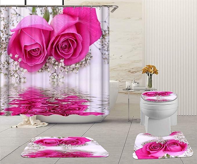 Pink Rose Butterfly Shower Curtain Bath Mat Toilet Cover Bathroom Decor Art Set