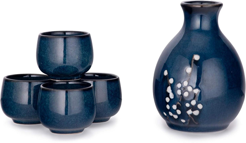 Hinomaru Collection Japanese Porcelain Sake Set Tokkuri Bottle 9.5 fl oz with Four Sake Ochoko Cups 2 fl oz Sake Set (Blue Sakura)