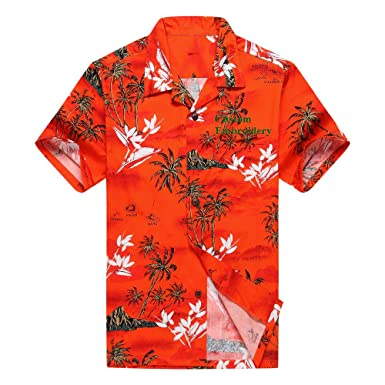 ce329253 Men's Hawaiian Custom Emboridery Shirt Aloha Shirt Luau Shirt S Blue with  Grey Leaf