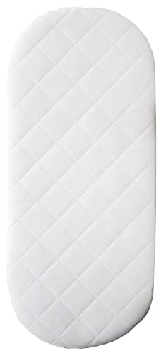 Mother Nurture Quilted Foam Moses Basket or Pram Mattress Rounded Both Ends White, 67x30x4cm